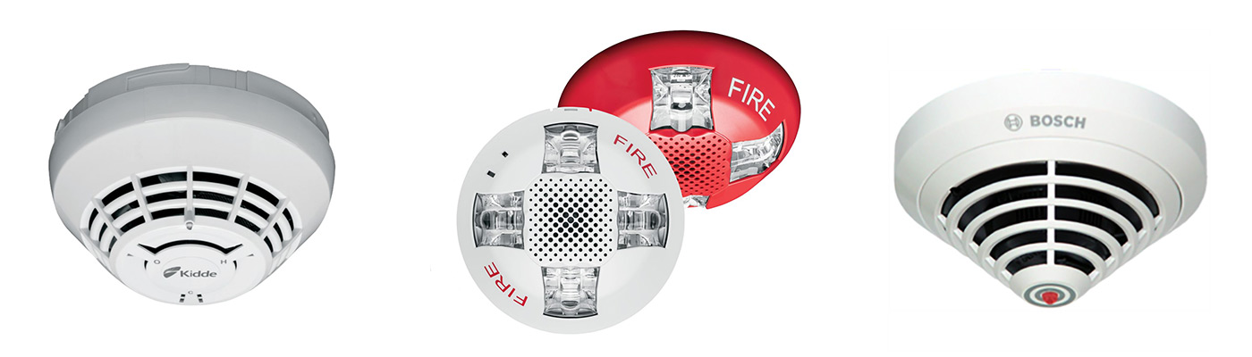 Fire Alarm System Smoke Detectors and Strobes